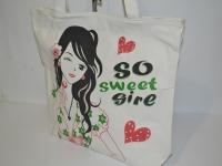 Белая пляжная сумка  с розами