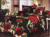 """Полуторное постельное белье, 3D """"Букет алых роз """""""