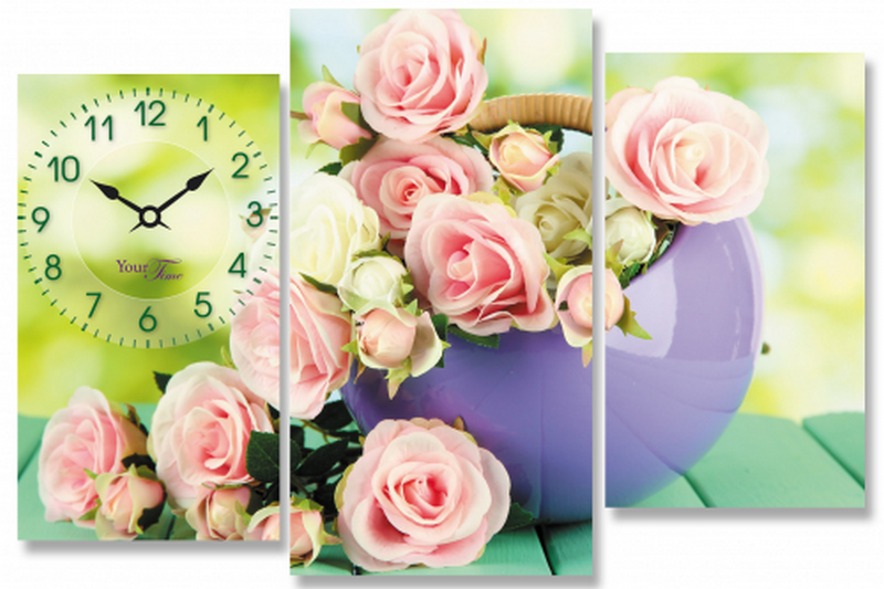 """Картина часы на холсте """"Розы"""". Купить настенные часы картина +на холсте Your Time в koposhilka.com.ua"""