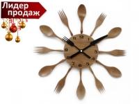 """Часы настенные деревянные """"Ложки и вилки"""""""