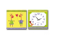 """Детские настенные часы на холсте """"Жирафы"""""""