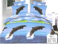 """Полуторное постельное белье, 3D """"Дельфины """""""