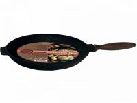 Сковорода чугунная блинная с деревянной ручкой