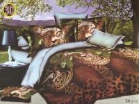 """Полуторное постельное белье, 3D """"Леопард"""""""