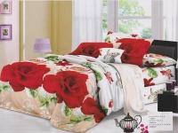 """Двухспальное постельное белье, 3D """"Розы и вензель """""""