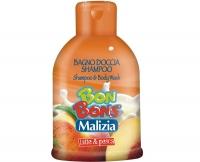 Шампунь-гель для душа молоко и персик, Malizia Bon Bons, Mirato